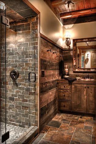 Rustic Bathroom Using Sliced Red Pebble Tile In Shower Pan Https Www Pebbletileshop Com Products Sl Rustic Bathrooms Cabin Bathrooms Rustic Bathroom Designs