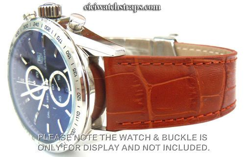 8c49b8ed0 Genuine TAG Heuer Brown Crocodile Watch Strap for Deployment Clasp For TAG  Heuer CARRERA
