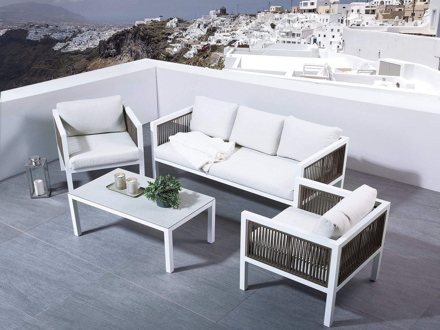 5 Seater Aluminium Garden Sofa Set White Borello Garden Sofa Set Outdoor Patio Furniture Sets Sofa Set