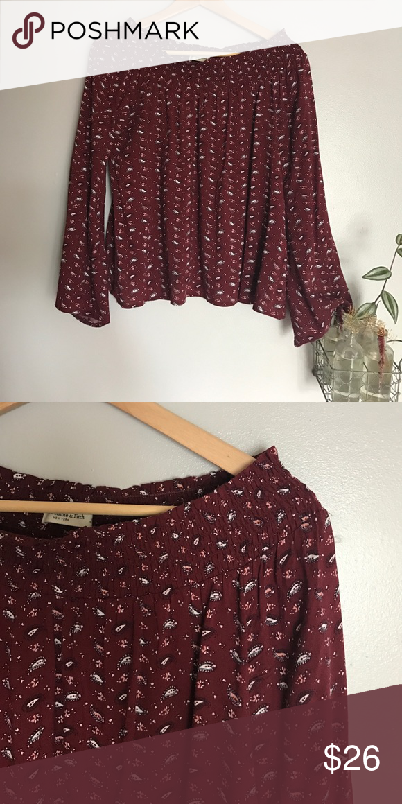 Abercrombie off should bell sleeve top Pretty paisley print - only worn once Abercrombie & Fitch Tops Blouses