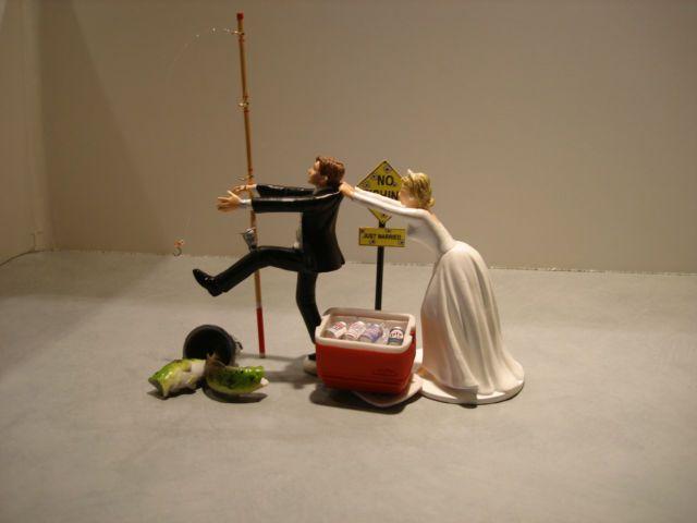 Fish Fishing Humor Funny Bride Groom Wedding Cake Topper Pole Beer Cooler Sign