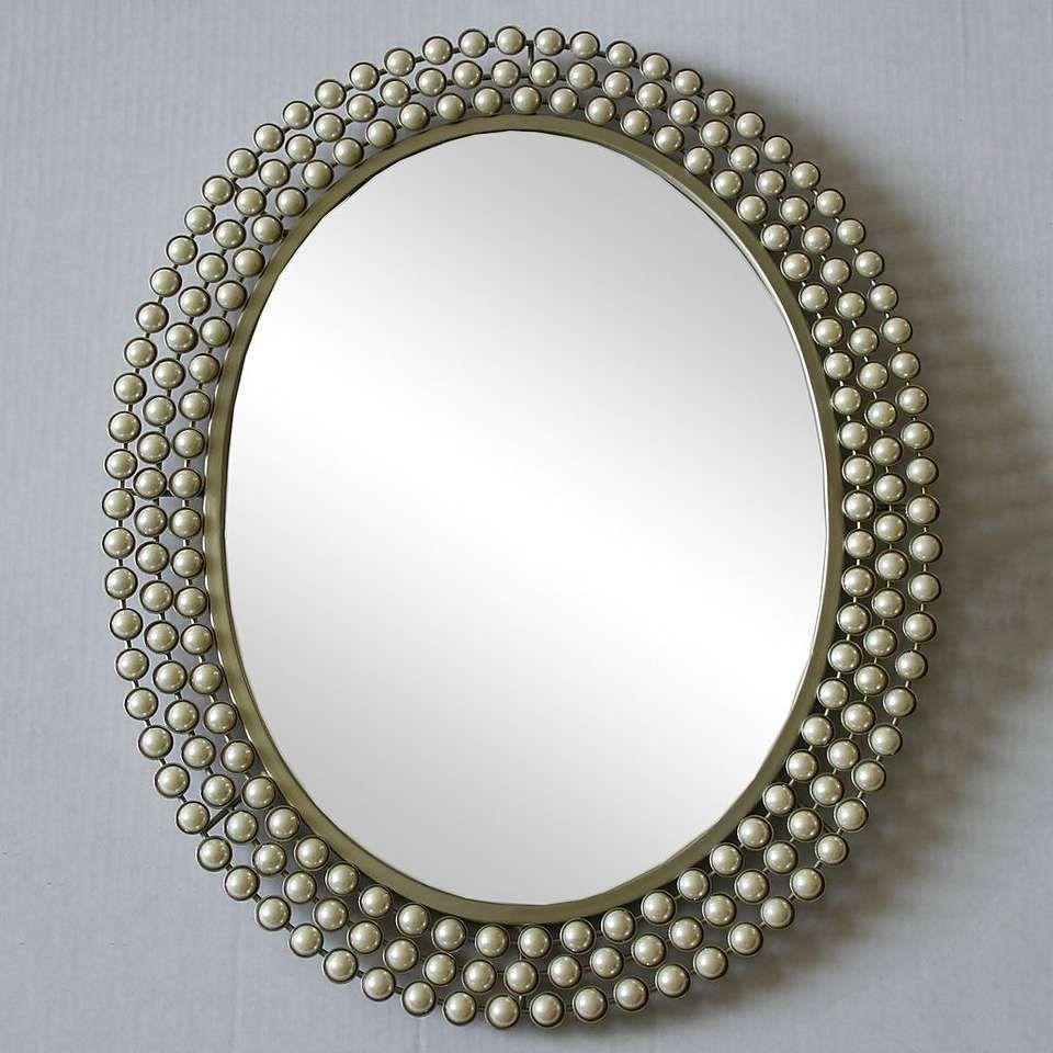 Cream Pearl Effect Wall Mirror Rustic Wall Mirrors