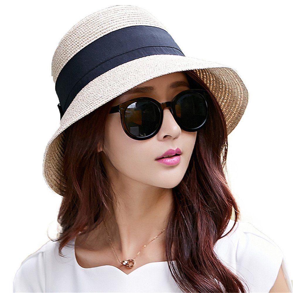 9a512987bde Siggi Womens Floppy Foldable Summer Sun Beach Straw Cloche Fedoras Hats Wide …