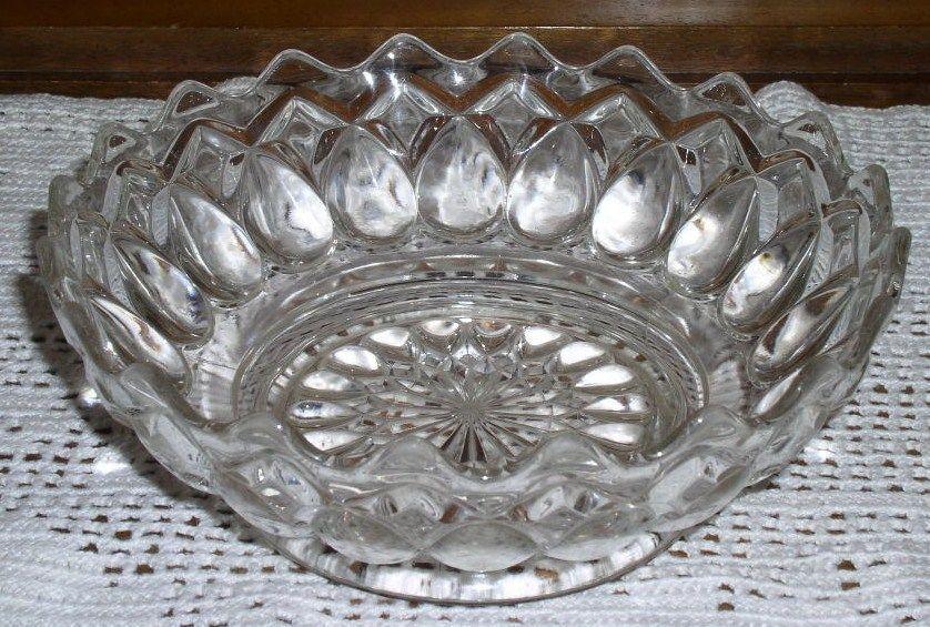 Decorative Thumbprint Design Glass Bowl picclick com