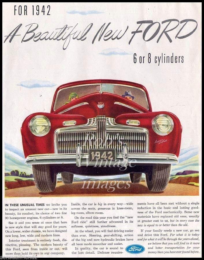 Ford Car V-8 1942 Advertising Antique Vintage Dealer Magazine Ad ...