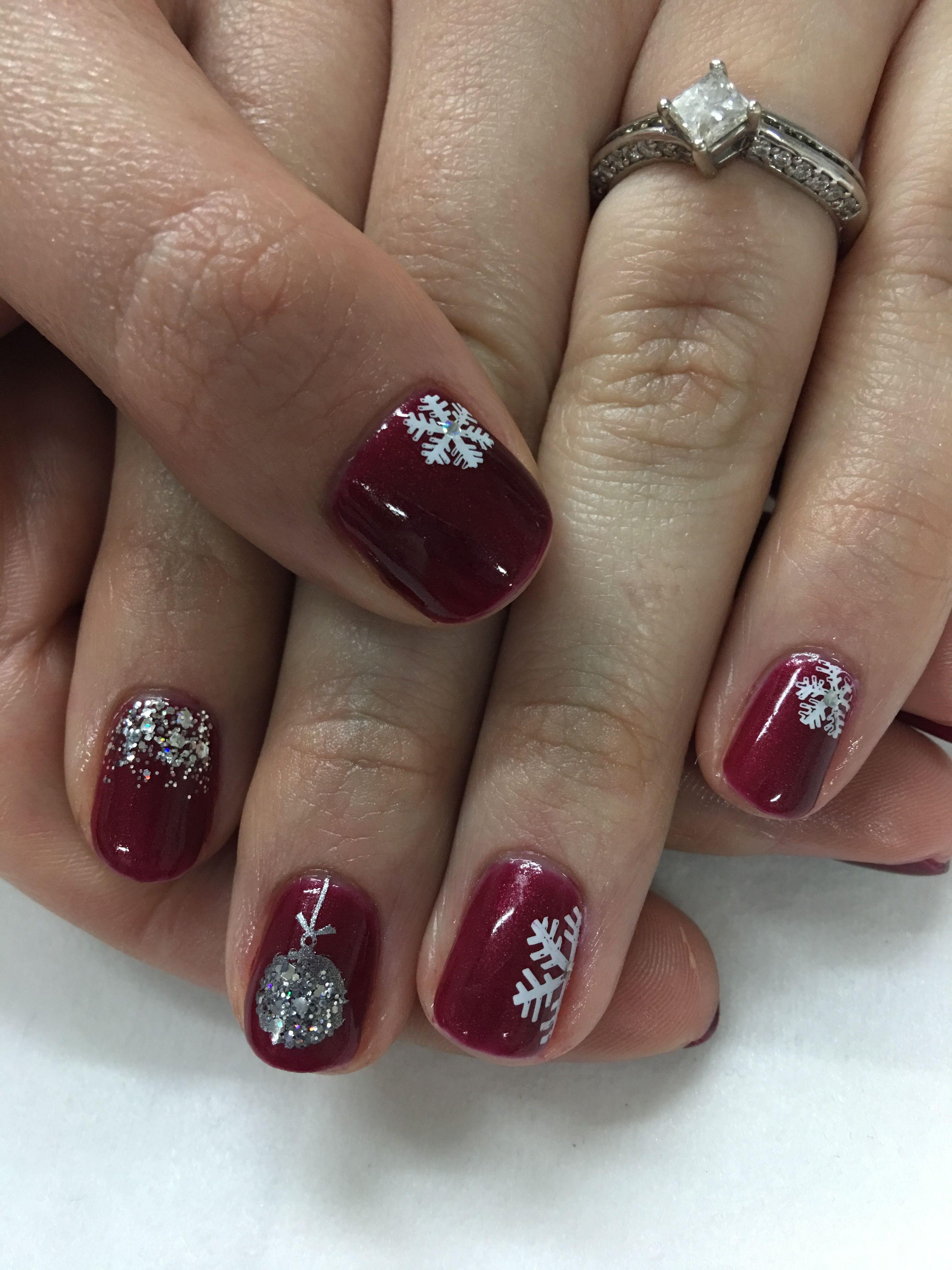Christmas Nails Gel.Red Glitter Snowflake Christmas Ornament Gel Nails Gel