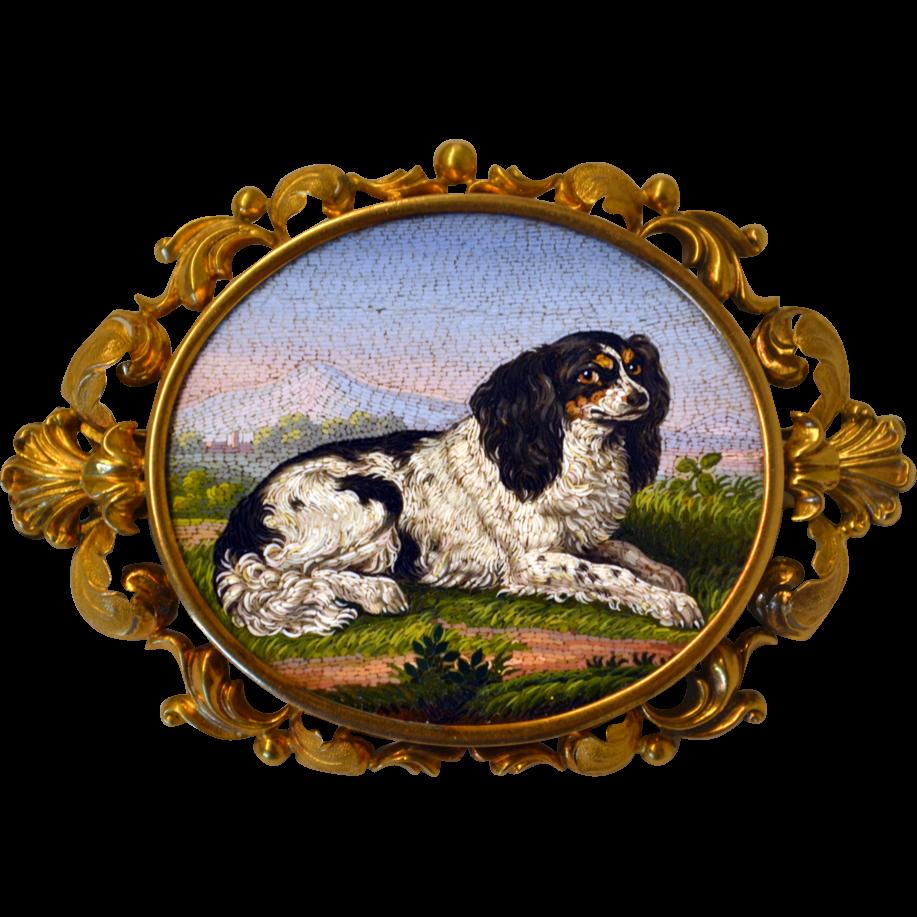 A cocker spaniel dog micromosaic brooch Micro mosaic