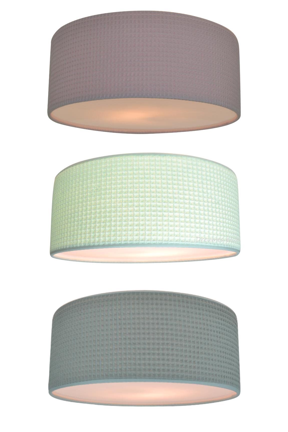 wafel babykamer lampen plafondlampen met wafelstof oud roze mintgroen oud groen