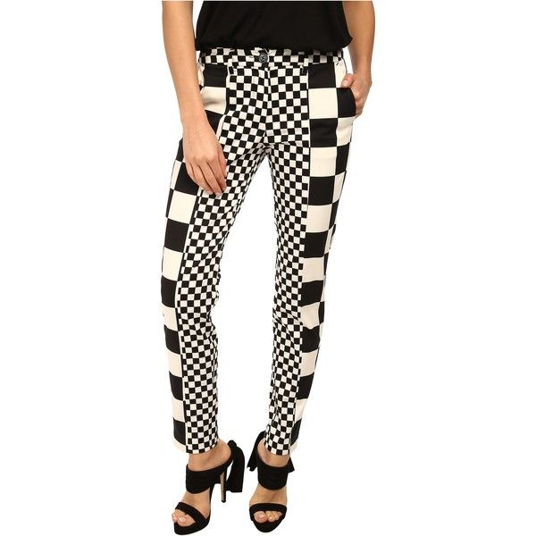 Love Moschino Checker Print Pant Black White 188 Liked On Polyvore Featuring Pants Black Slim Fit Pants Women Pants Casual Printed Pants Checker Print