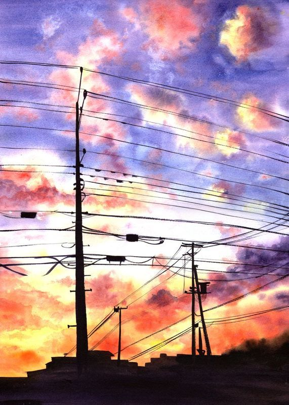 Power Lines Sunset Clouds Urbanscape Cityscape In 2020
