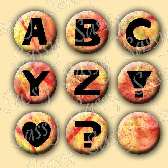 Alphabet Orange Yellow Texture 1 Inch by SassyCraftsBoutique, $2.22