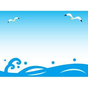 フリーイラスト ベクター画像 Ai 風景 自然 海 波 夏 鴎カモメ