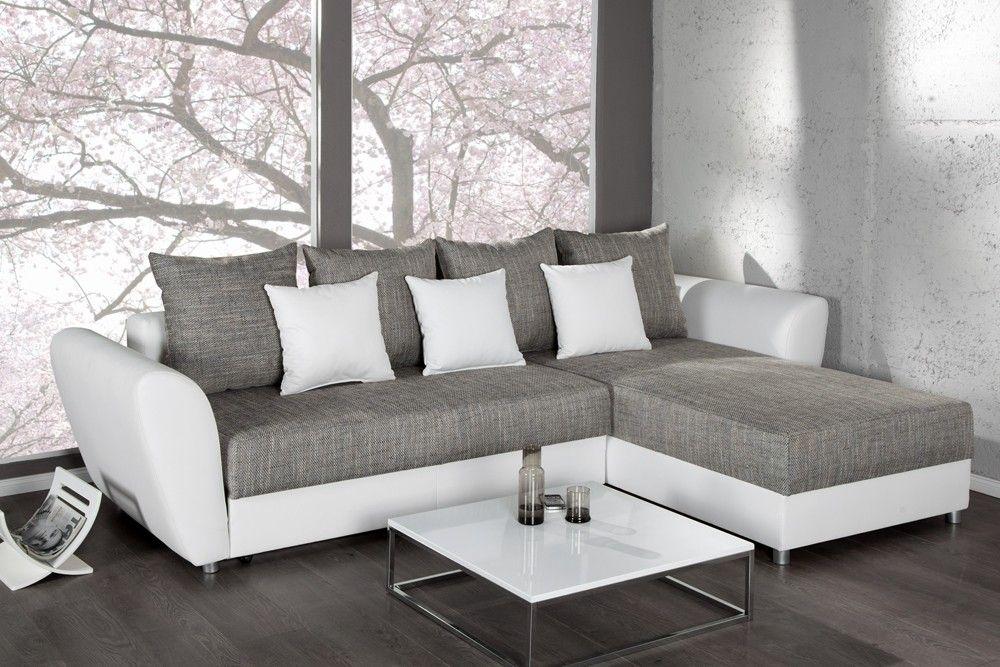 étourdissant Canape Angle Gris Blanc Décoration Française Pinterest - Canape convertible blanc et gris