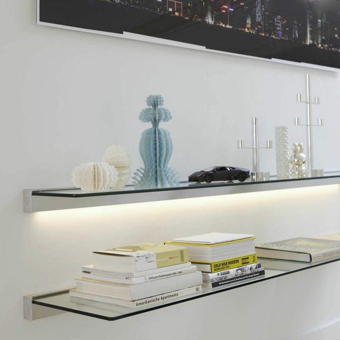 wandregal glas wohnzimmer ideen glasregale   wandgestaltung, Wohnzimmer