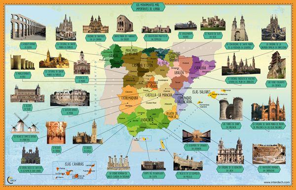 Mapa Monumentos De Espana Spanish Culture Spanish Projects Teaching Spanish