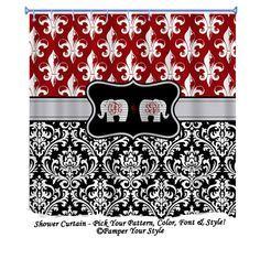 Fleur De Lis And Damask Shower Curtain Elephant Shower Curtain