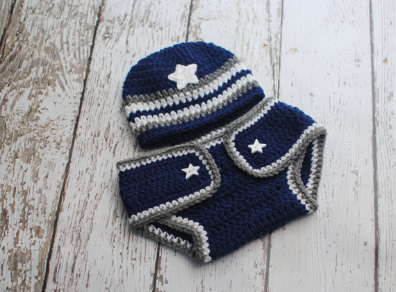Baby Dallas Cowboys Beanie and Diaper Cover Set by AdorablyHooked ... 2808bd70e3df