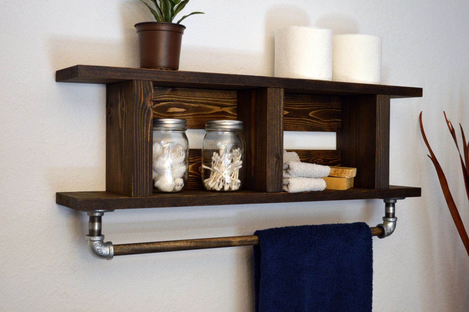 Beau Rustic Modern Bathroom Wood Towel Bar 2 Tier Bath Shelf Ladder Style Dark  Walnut His Hers