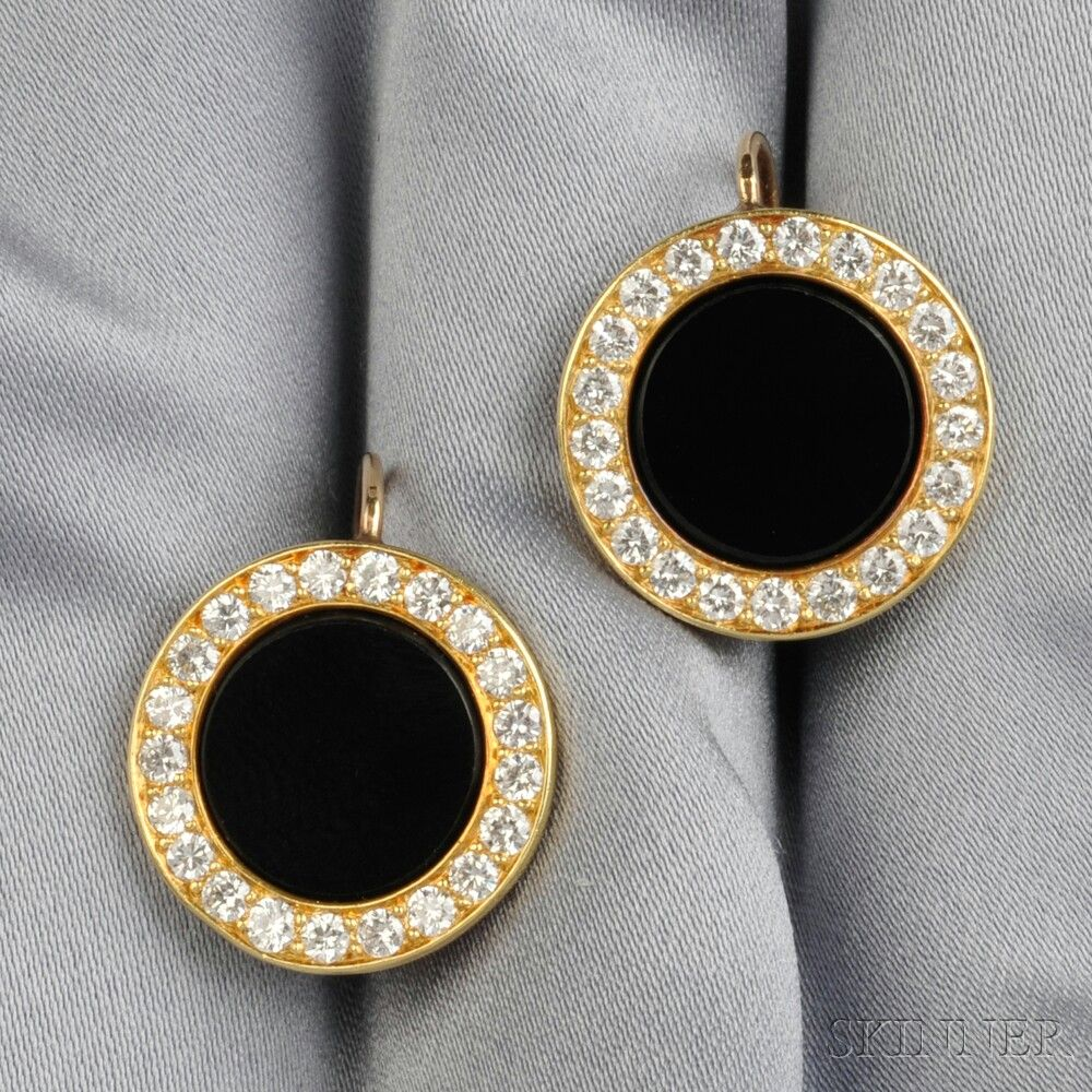 18kt Gold, Onyx, and Diamond Earpendants - View auction on www.skinnerinc.com