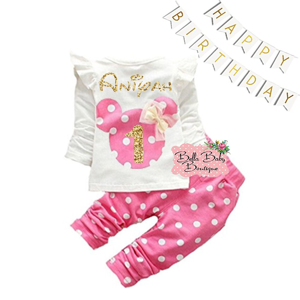 f3c2e62d6 1st Birthday Minnie Mouse Pants Outfit Personalized Gold Glitter and Pink  Minnie Mouse Vinyl Design