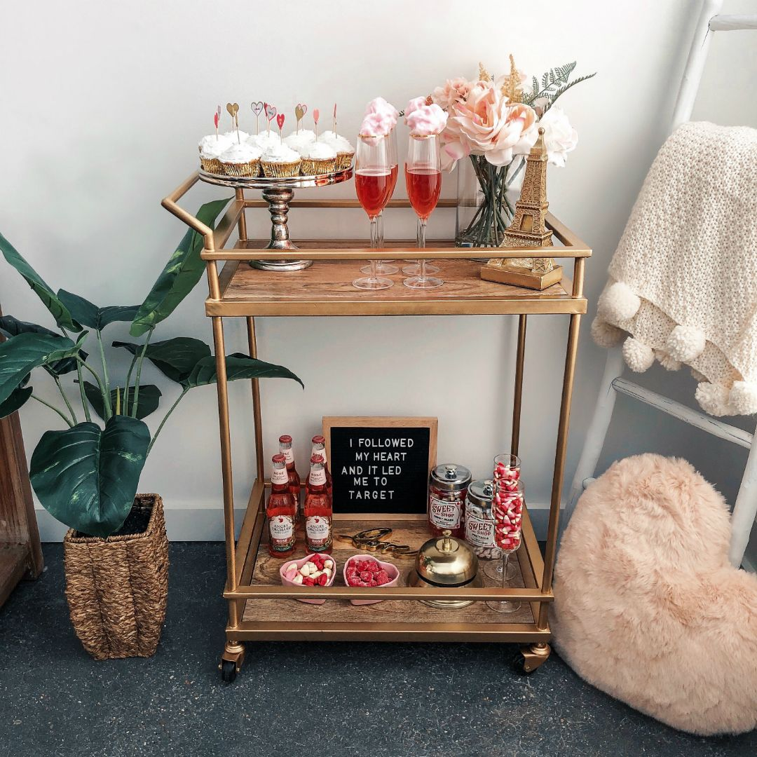How To Decorate A Bar Cart For Valentine S Day The House Of Sequins Gold Bar Cart Gold Bar Cart Styling Bar Cart