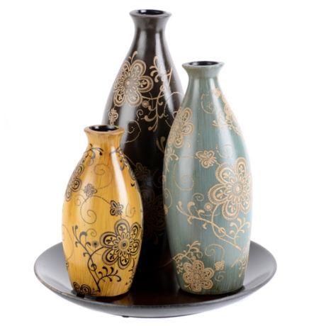 Ceramic Floral Vase Set Of 3 With Images Floral Vase