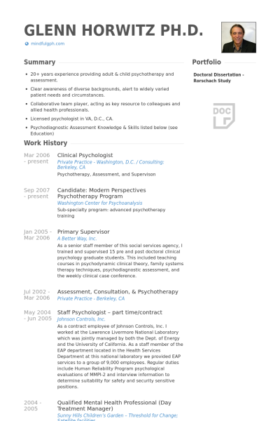 sample psychology resume