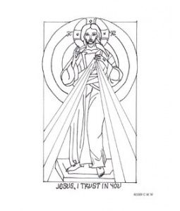 divine mercy coloring page icon style