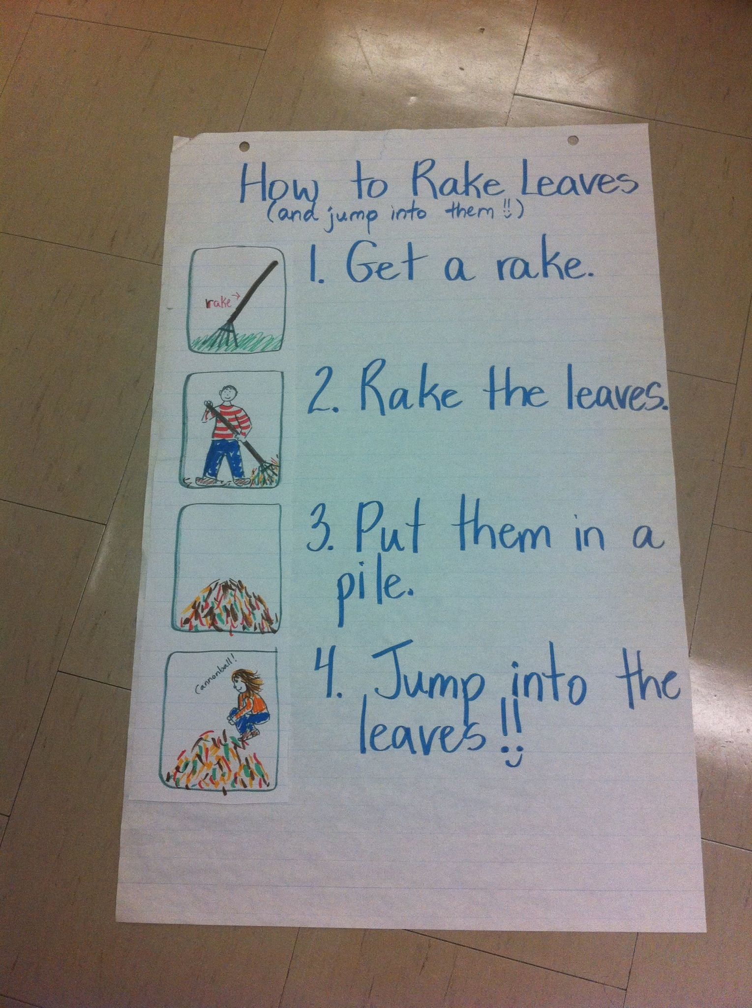 Procedural Writing How To Rake The Leaves And Jump In