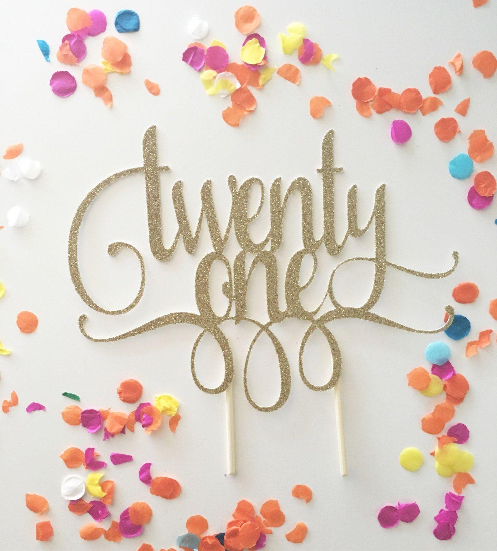 Glitter 21st Birthday Cake Topper Twenty One Gold Cake