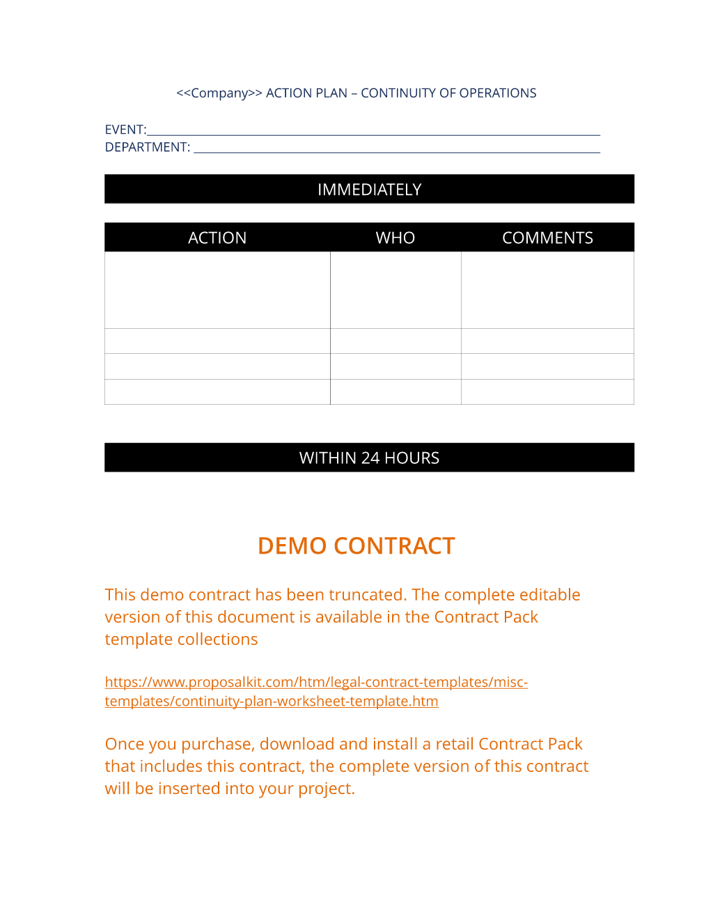 How To Write Your Own Continuity Plan Worksheet