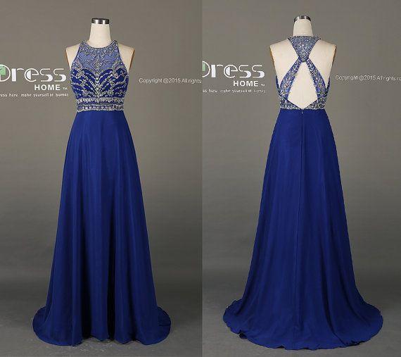 Royal Blue High Neck Beading Long Prom Dress/New Criss Cross Back Prom Dresses/Silver Beading Prom Dress Long/Royal Party Dress DH199