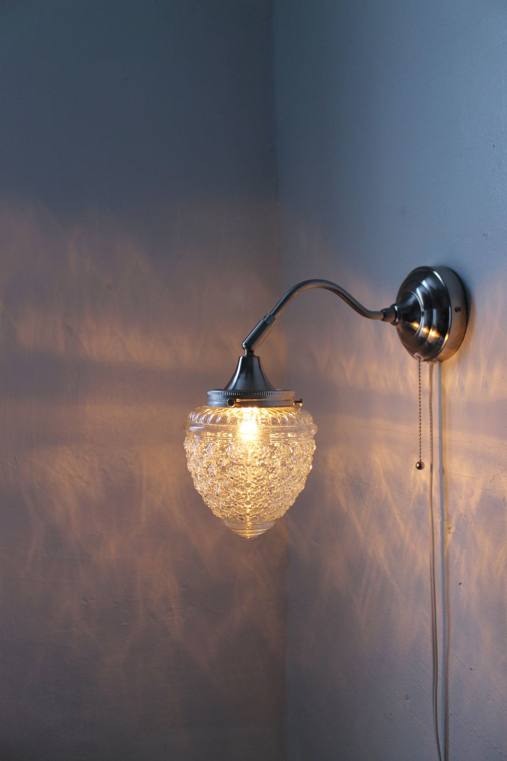 Wall Sconce Lamp Chrome Finish Acorn Shaped Textured Glass Globe Shade Modern Gooseneck Wall Sconce Hanging Lighting Fixture With Images Handmade Lighting Hanging Light Fixtures Handmade Lighting Fixtures