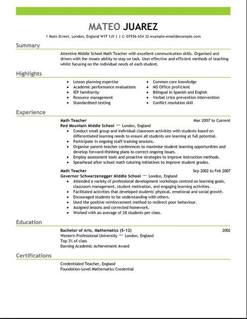 Pin by Resume Exsamples on Good Resume Examples Teaching resume