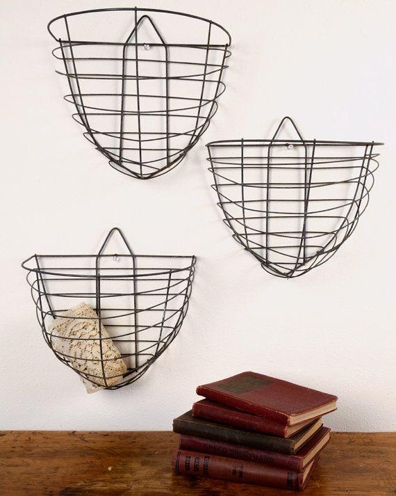 Vintage Wire Wall Hanging Baskets Hanging Fruit Baskets Baskets