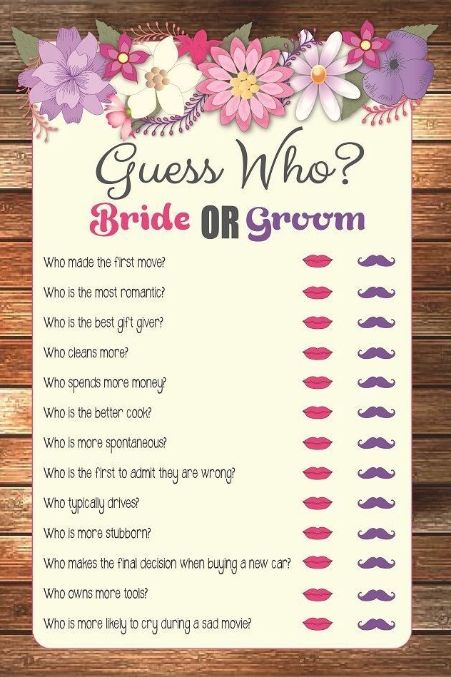 Wedding Game Ideas Guess Who Bride Or Groom Wedding Weddings Ideas Inspiration Catherine K Printable Bridal Shower Games Bridal Shower Games Bridal Games