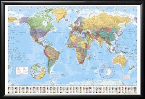 Framed color political map of world with country flags 24x36 dry framed color political map of world with country flags 24x36 dry mounted poster in basic detail wood frame check this awesome product by going to the publicscrutiny Gallery