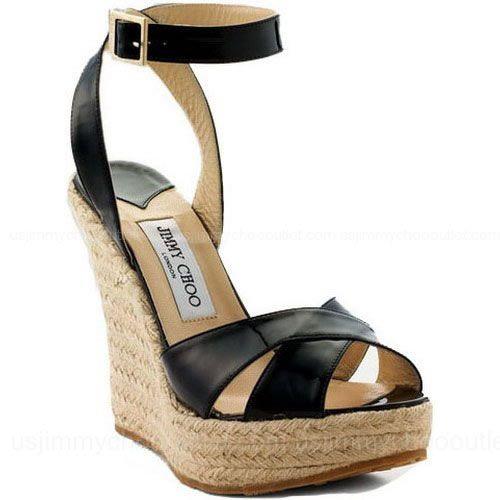 Jimmy Choo Phoenix Espadrille Sandals Black -$205