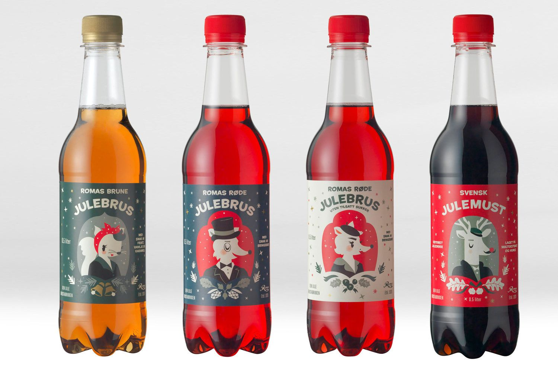 Roma Julebrus The Metric System Soda Labels Packaging Design Christmas Packaging