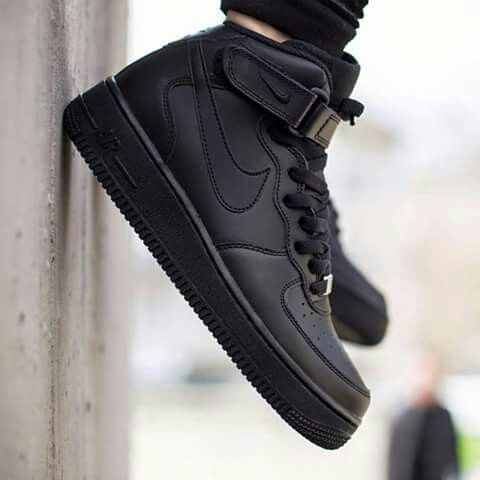 Black on black air force high tops  ) ♡  6e0ad23af