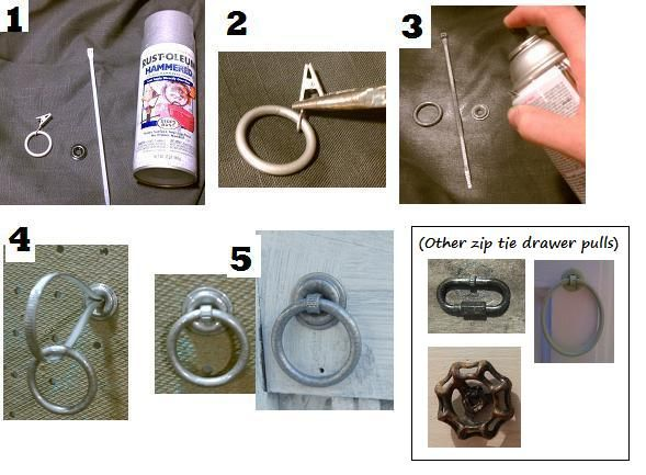 Diy Drawer Pulls From Shower Curtain Rings Grommets And Zip Tie S Genius Campaign Style Diy Drawers Diy