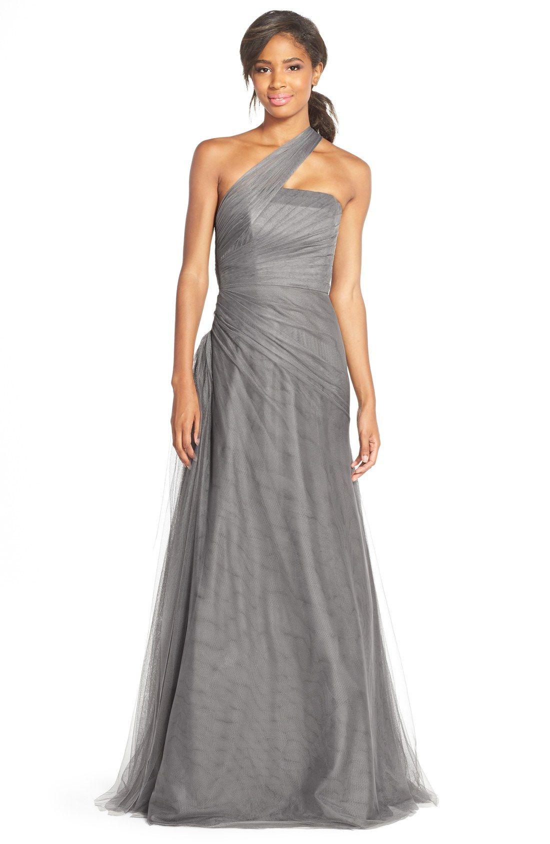 302ad30afe9  420 - Monique Lhuillier Bridesmaids One-Shoulder Drape Tulle Gown ...
