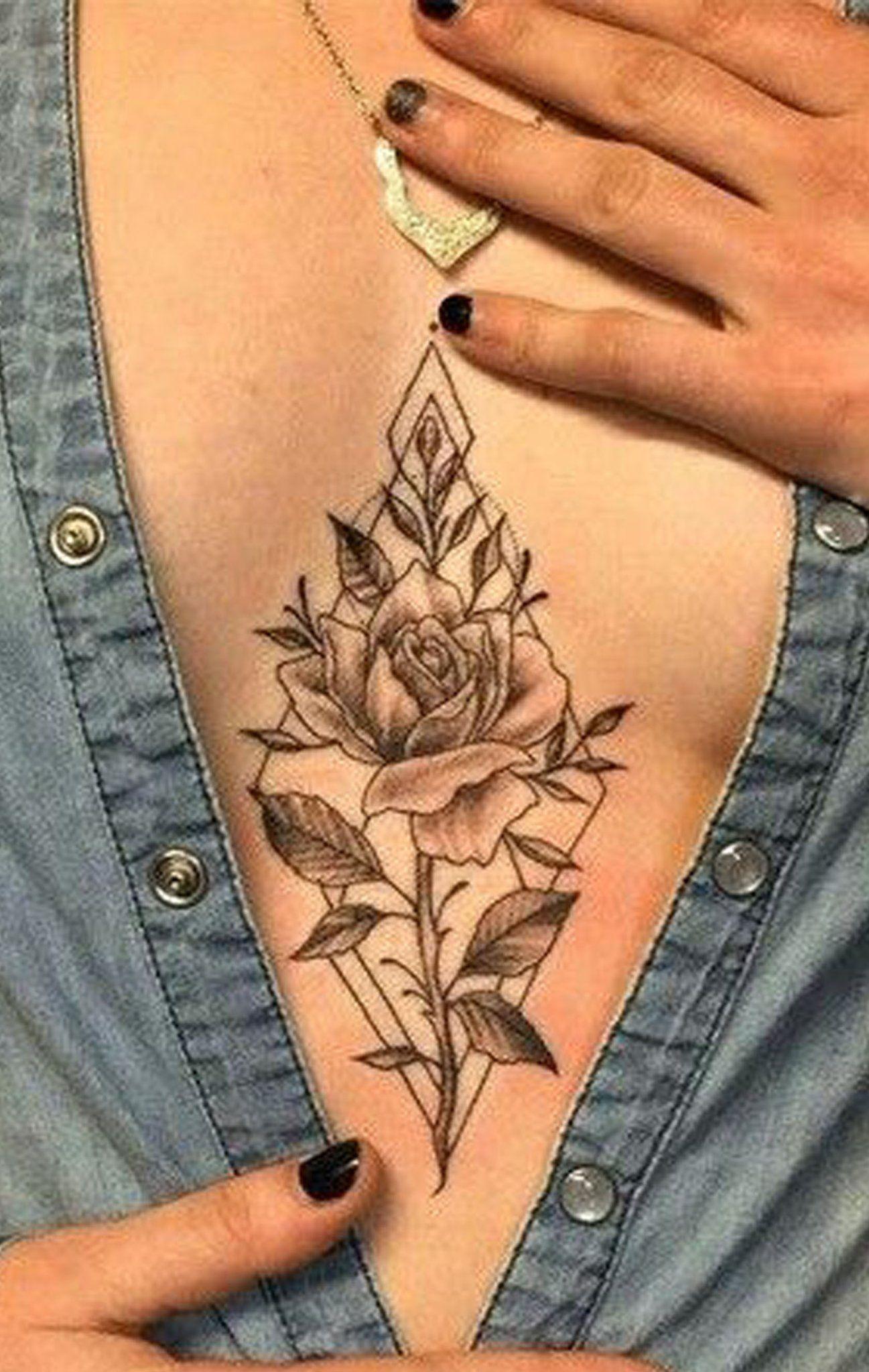 Vintage Wild Rose Sternum Tattoo Ideas For Women