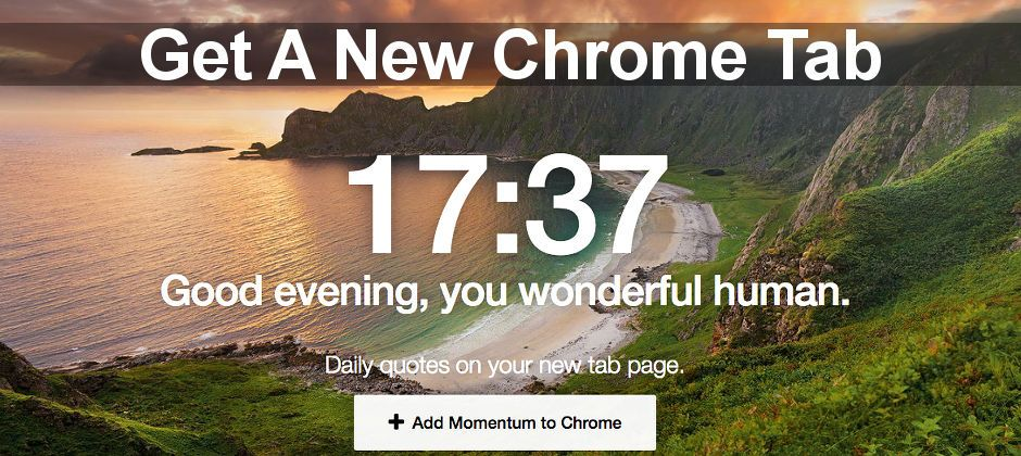 Momentum makes new tabs in Chrome more useful and