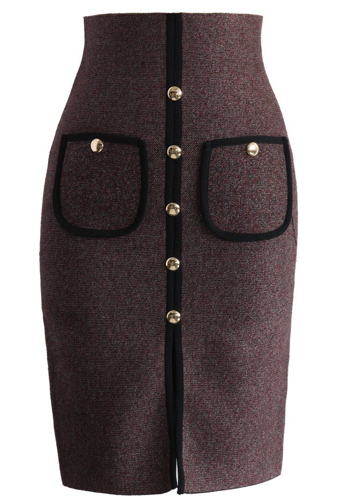 Studded Pockets Knitted Pencil Skirt in Wine