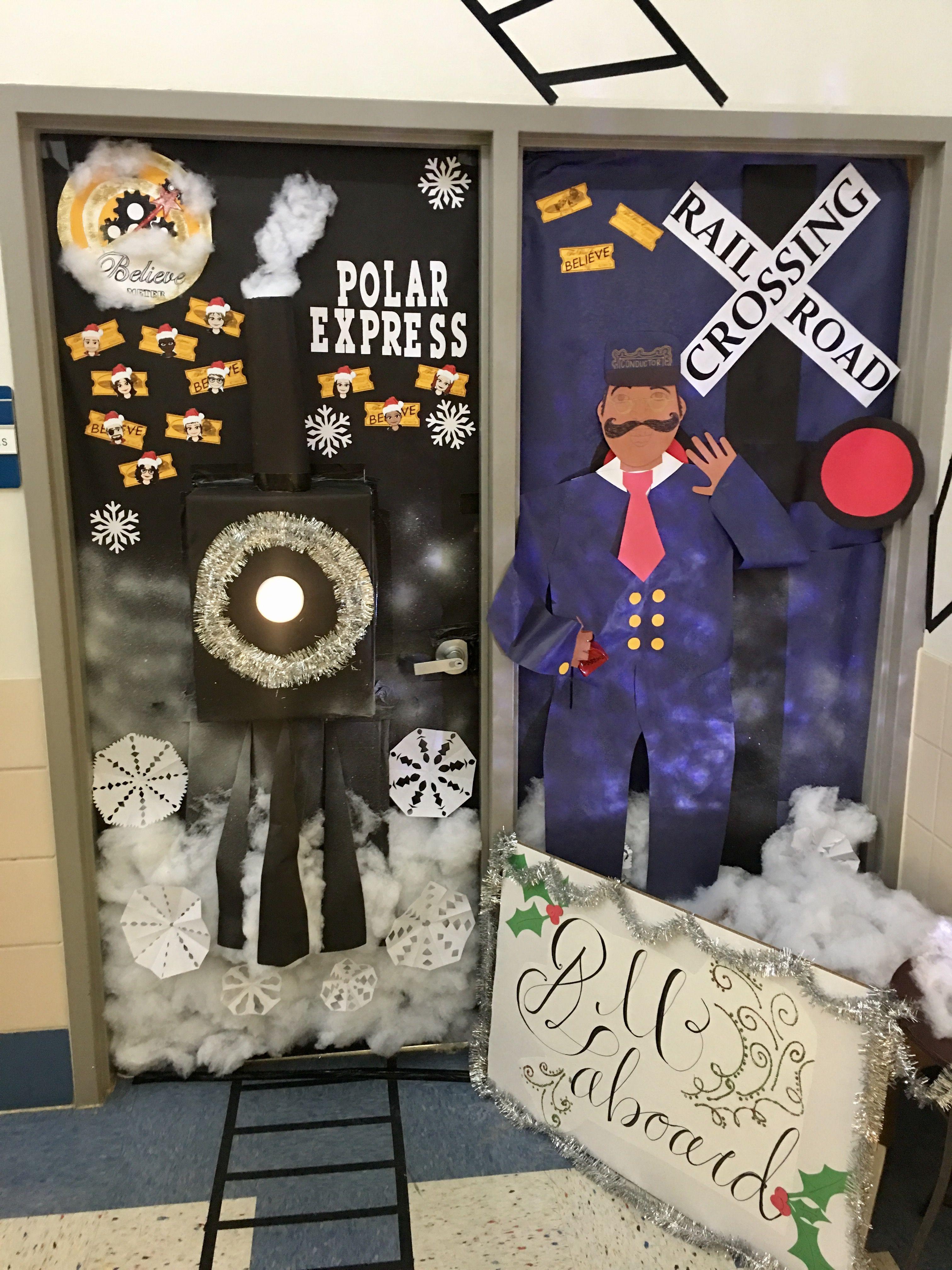 """The Polar Express"" door decoration for school"