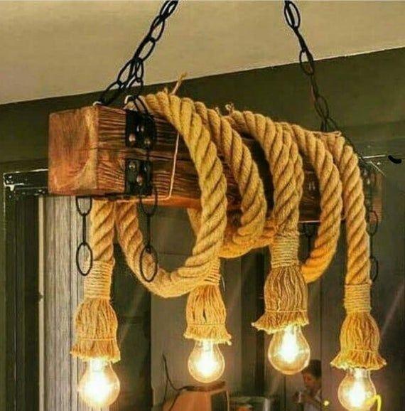 Customizable Wood Beam Ceiling Chandelier Vintage Rope Pendant Lamp Rustic Design Barn Chandelier Rope Pendant Light Farm House Decor Rope Chandelier Rustic Pendant Lighting Rope Light