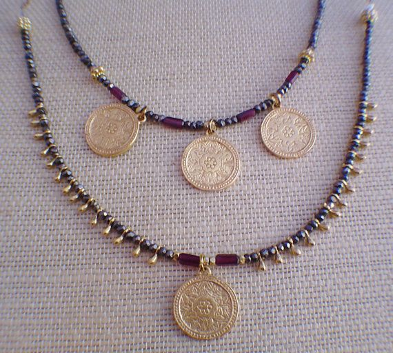Golden Disc Layered Necklace by gwensofferjewelry on Etsy, $80.00