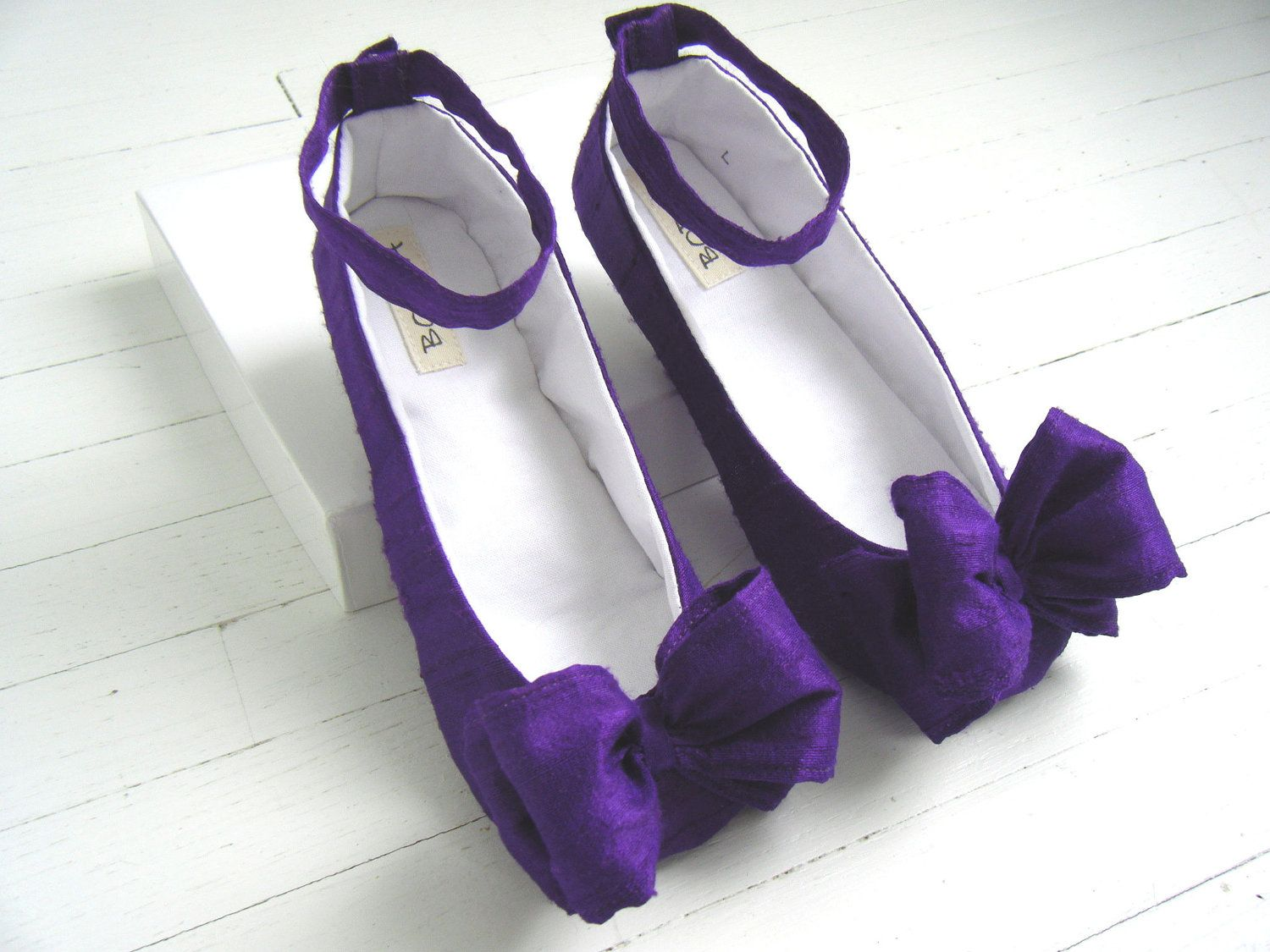 Flat Bridal ShoeWedding Flats Wedding Shoes Purple Silk Ankle Strap