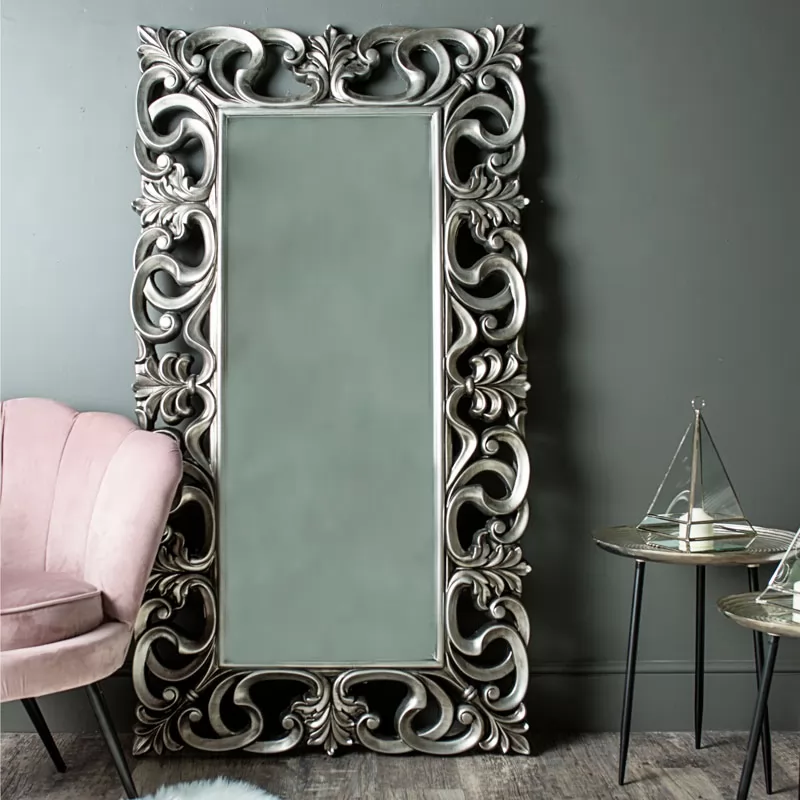 Large Ornate Silver Wall Floor Mirror 90cm X 168cm In 2020